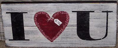 *~*primitive*~* Hp Folk Art Heart * I Love You * Valentine *~* Reclaimed Wood