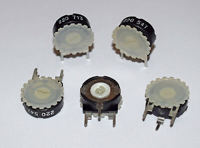 5 Pieces Pt15H Piher Trimmer Potentiometer 220R With Thumbwheel Adjustment