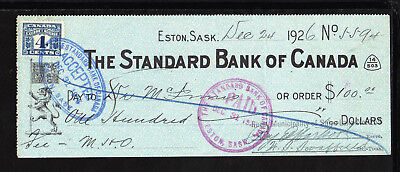 9M1340 1926 Standard Bank Of Canada - Eston, Saskatchewan