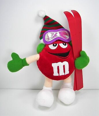 M&M Red Character Skier Plush Figure Hanging Christmas Decoration Ornament 2002