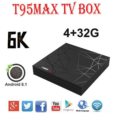 2019 T95 Max 6K 4+32GB Android 8.1 Quad Core Smart TV Box WIFI 3D H.265 For USA