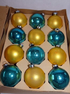 "Vintage Christmas Mercury Glass Ornament Blue and Gold 2-3/4"" Lot of 12 USA"