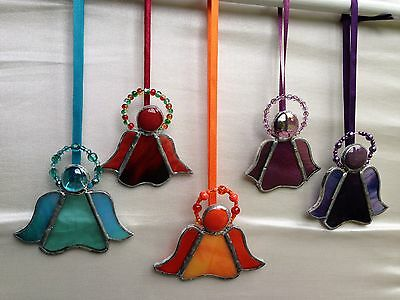 Hand-made stained glass angel w beaded halo suncatcher present gift hanging