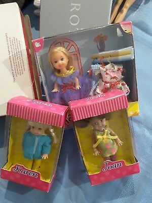 3 small dolls new in their boxes,Karen,Kara and Joan,lovely
