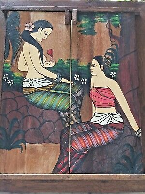 Superb Arts Woman Thai &Crafts on Wood Teak Wall Mirror with Decorative Antique