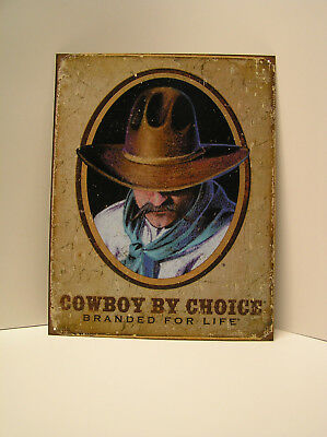 """Cowboy By Choice - Branded For Life Tin Sign Country Farm Decor 12.5"""" x 16"""""""