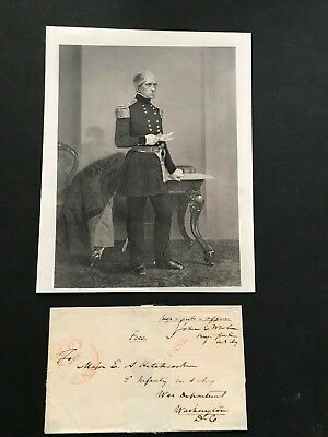 Civil War General, John Wool, free frank cover, signed to E A Hitchcock