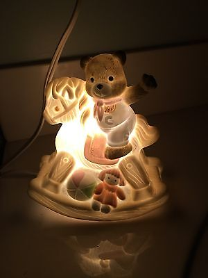 "Babys Child Ceramic Rocking Horse Teddy Bear Dolly Night Light Table Lamp 5""x6"""
