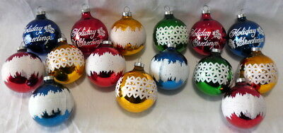 Vintage Christmas Glass Ornament Mica Stencil Holiday Greetings Lot of 15 USA