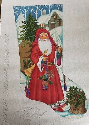 """Peter Ashe Needlepoint Stocking """"Father Christmas"""" 2001 Limited Edition 500 NEW"""