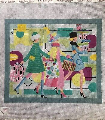 """Ruth Schmuff """"Shopping Ladies"""" Needlepoint Canvas And Stitch Guide"""
