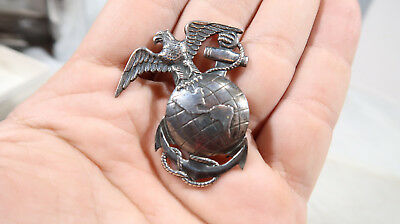WWII USMC US Marine Corps Sterling Silver EGA Eagle Globe Anchor Sweetheart Pin