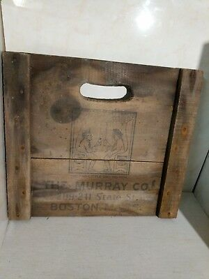 Wine Wood Crate Box Panel Antique Vintage wall sign. Murray& CO Boston