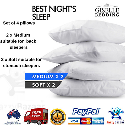 Giselle 2x Soft + 2x Medium Standard Pillow Hotel 4 Pack Bed Cotton 48X73CM