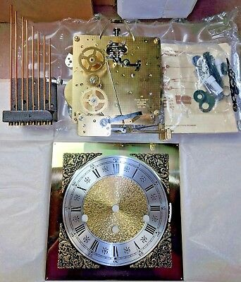 NOS Build Kit FRANZ HERMLE 1050-020 #86 Brass Clock Movement, Face, Hands, Chime