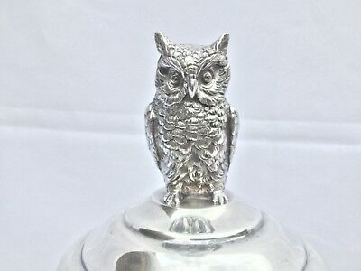 Exquisite Frank M. Whiting Sterling Silver Owl Finial Tankard Coctail Shaker
