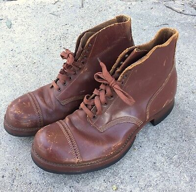 Vintage WW2 US ARMY Officer Brown Leather Shoes, 10 D,  For Display