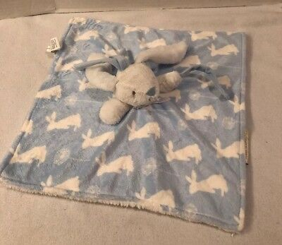 BLANKETS & BEYOND BLUE WHITE RABBIT BUNNY PRINT SECURITY BLANKET LOVEY Pacifier