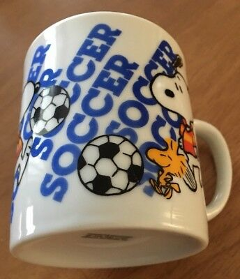 """60's Vintage Snoopy """"Soccer"""" Coffee Cup/Mug Schulz Peanut's Character Porcelain"""