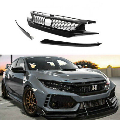 JDM CTR Style Glossy BLK Mesh Front Hood Grille For 2016-18 HONDA CIVIC 10TH GEN
