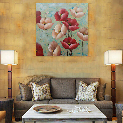 Genuine Hand-painted Abstract Oil Painting Stretched Canvas Flowers (With Frame)