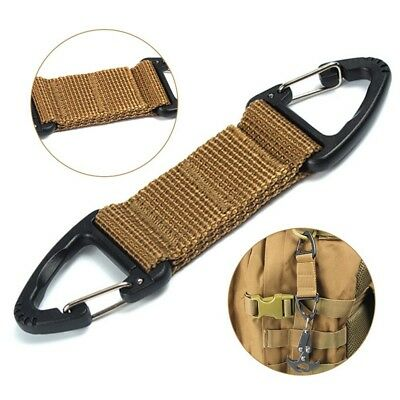 Nylon Tactical Belt Webbing Carabiner Key Holder Bag Hook Buckle Strap Clip TOP