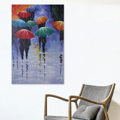 Framed Hand-painted Modern Abstract Oil Painting On Canvas Wall Art Rainy Day