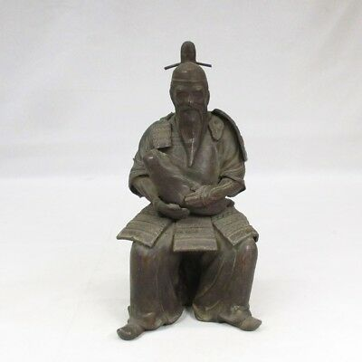 B854: Japanese old antimony ware statue of old SAMURAI with baby