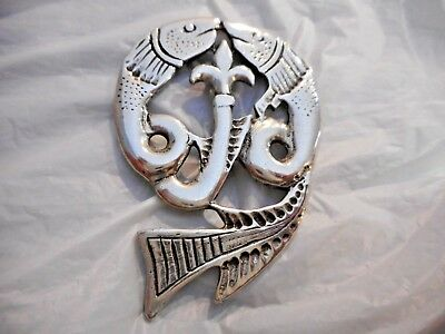 Vtg Large St Justin Celtic Pewter Jewelry Fish Brooch Made in Cornwall Irish PIN