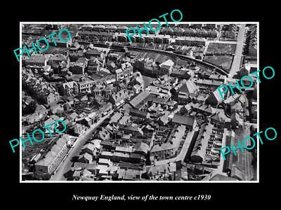 OLD LARGE HISTORIC PHOTO OF NEWQUAY ENGLAND, VIEW OF THE TOWN CENTRE c1930