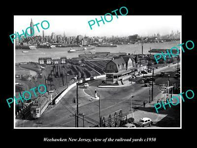 OLD LARGE HISTORIC PHOTO OF WEEHAWKEN NEW JERSEY, THE RAILROAD YARDS c1950