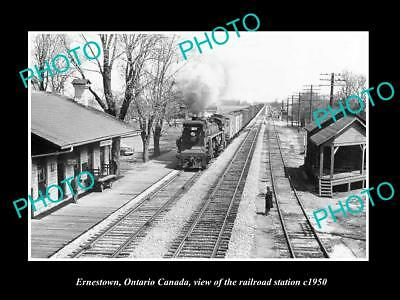 OLD LARGE HISTORIC PHOTO OF ERNESTOWN ONTARIO CANADA, THE RAILROAD STATION c1950