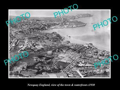 OLD LARGE HISTORIC PHOTO OF NEWQUAY ENGLAND, THE TOWN & WATERFRONT c1930 2