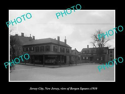 OLD LARGE HISTORIC PHOTO JERSEY CITY NEW JERSEY, VIEW OF BERGEN SQUARE c1910