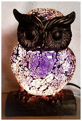 Owl Accent Lamp - Crackle Glass - Night light - with corded switch.