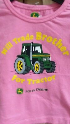 John Deere girls pink long sleeve top w/WILL TRADE BROTHER FOR TRACTOR size 4T