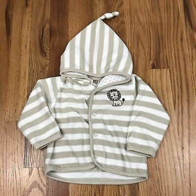 Boys Lion Tan & Cream Striped Hooded Sweater 12 Months Carters AI