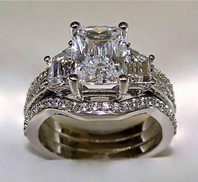 Certified 5 Ct Radiant Cut Engagement Ring Matching Wedding Bands 14K White Gold