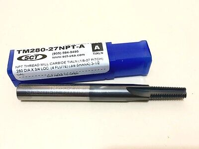 "Sct # Tm280-27Npt-A  Carbide Thread Mill Dia: .280, Shk 3/8, Loc 3/4"" Oal 3-1/2"""