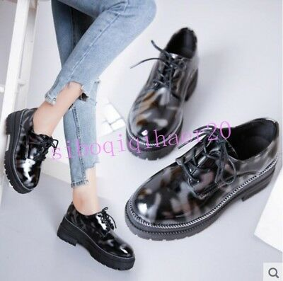 Womens Round Toe Shoes Lace Up Pu Leather England College Girls Platform US Size