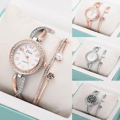 Fashion Women Watch+Rose Pearl Bracelet Set Chain Rose Gold Watches Gifts Alloy