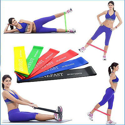 Exercise Resistance Bands Set of 6 Fitness Workout Stretch Elastic Loop Legs