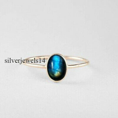 Labradorite Solid 925 Sterling Silver Band Ring Handmade Jewelry sg14