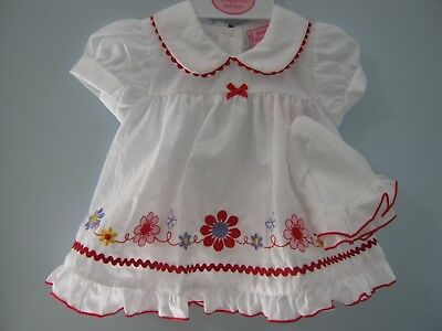 Baby/Reborn doll dress.3-6mth Flowers (3 piece set) White