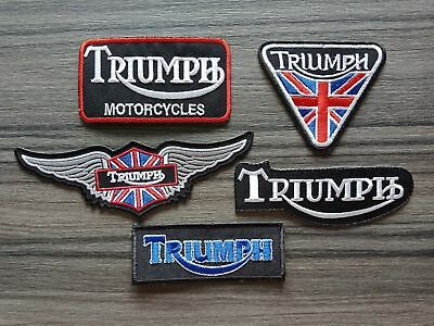 5 Pcs Patches TRIUMPH MOTORCYCLES RACING Biker Embrodered Iron or Sewn on jacket