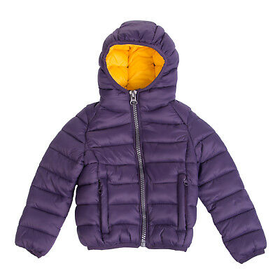 INVICTA Puffa Jacket Size 2Y Purple Padded Straps Inside Full Zip Hooded