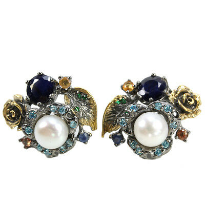 Real White Pearl, Multi Color Sapphire & Cz Sterling 925 Silver 2-Tone Earring