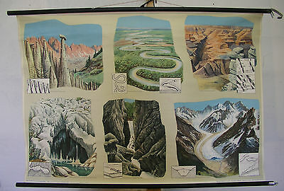 Schulwandkarte Wall Map Earth Gorge Glacier Meander Canyon Cave Wind 118x82