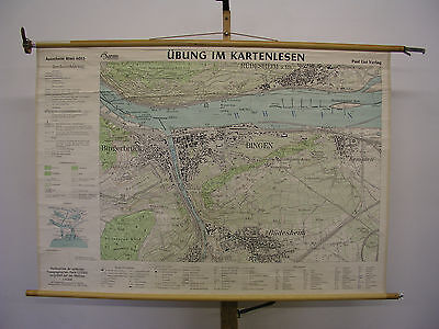 Schulwandkarte Wall Map Old Beautiful Bingen Rüdesheim 55 1/8x38 3/16in ~ 1955