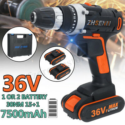 36V Cordless Drill Brushless Motor Electric Impact Wrench Gun Torque W/ Battery